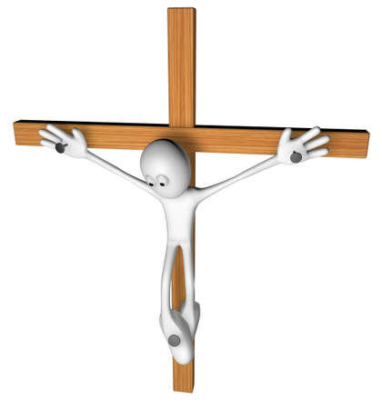 nailed: white guy nailed on wooden cross - 3d illustration