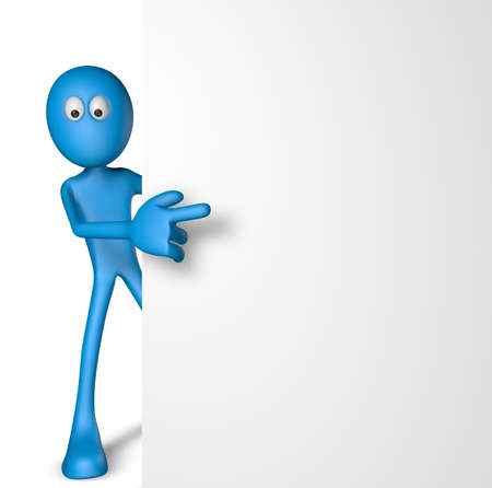 sticky note: blue guy and blank board - 3d illustration Stock Photo