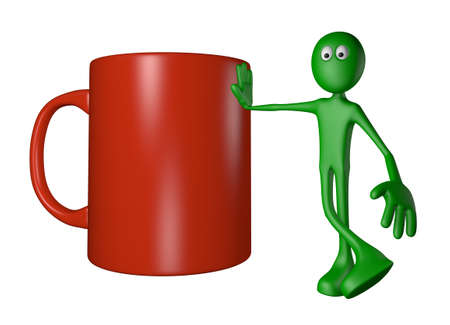 green guy and mug - 3d illustration illustration