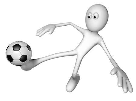 white guy with soccer ball - 3d illustration illustration