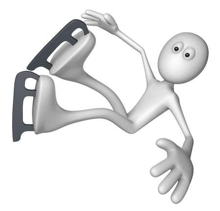 ice slide: ice skating white guy is falling - 3d illustration