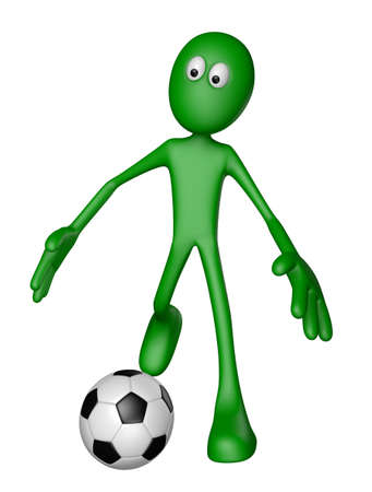 green guy with soccer ball - 3d illustration illustration