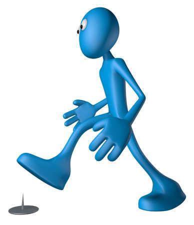 walking blue guy  and tack on the floor - 3d illustration illustration