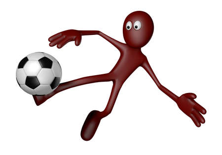 red guy with soccer ball - 3d illustration illustration