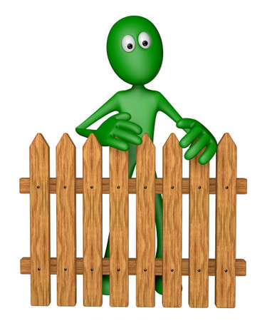 green guy behind garden fence - 3d illustration illustration
