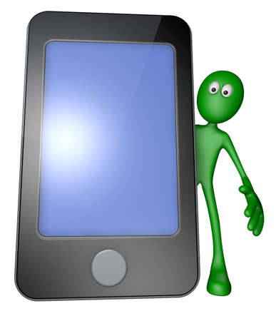 green guy behind smartphone - 3d illustration illustration
