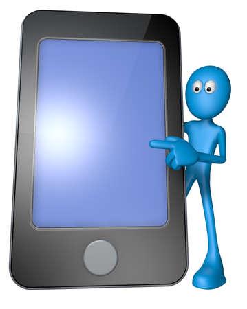 blue guy behind smartphone - 3d illustration Stock Illustration - 13496432