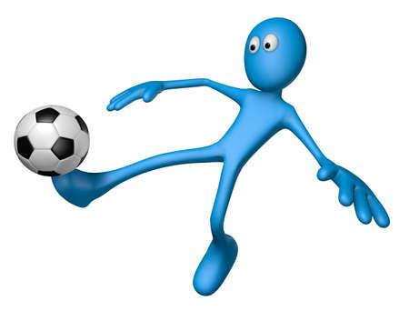 blue guy with soccer ball - 3d illustration