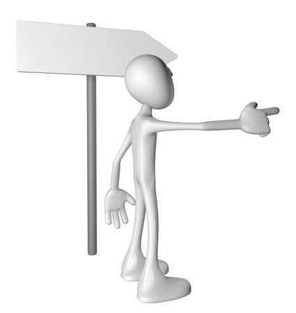 white guy and signpost - 3d illustration Stock Illustration - 13495621