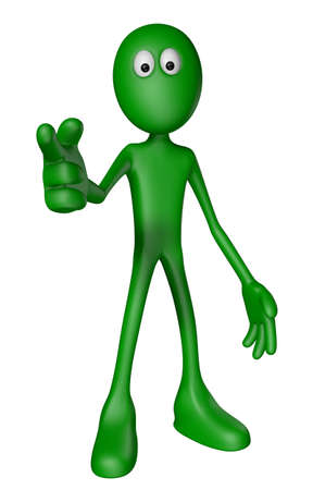 green guy shows someone with his forefinger - 3d illustration Stock Photo - 13413715