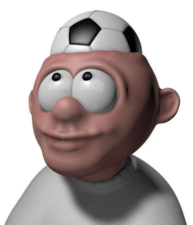 man with soccer ball in his head - 3d illustration illustration