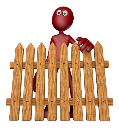 red guy behind garden fence - 3d illustration Stock Illustration - 13496433