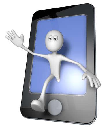 white guy and smartphone - 3d illustration illustration