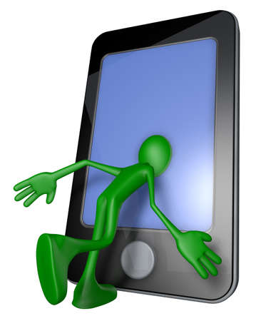 green guy with head inside a smartphone - 3d illustration illustration