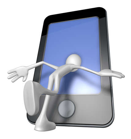 white guy with head inside a smartphone - 3d illustration illustration