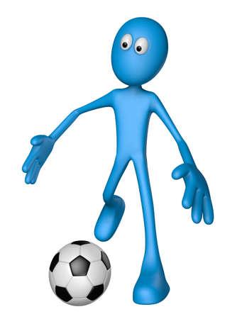 blue guy with soccer ball - 3d illustration illustration