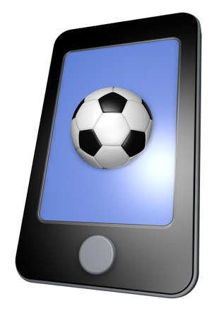 smartphone with soccer ball on display - 3d illustration illustration
