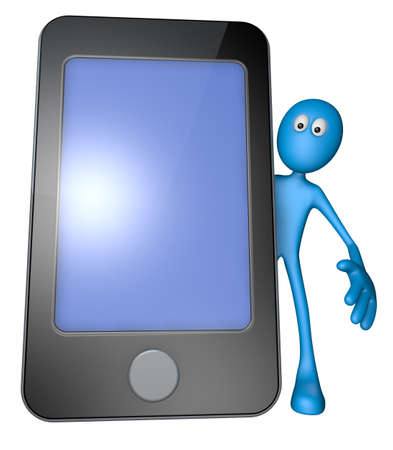 blue guy behind smartphone - 3d illustration illustration