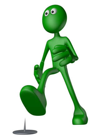 dangerous man: walking green guy  and tack on the floor - 3d illustration Stock Photo
