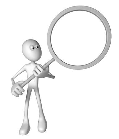 white guy with magnifying glass - 3d illustration