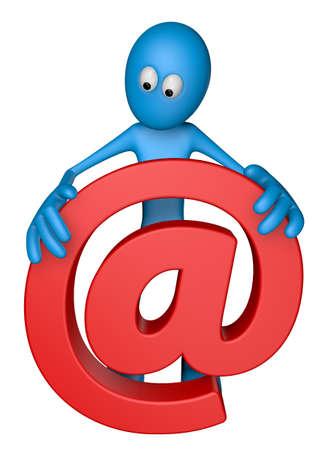 blue guy is holding email alias - 3d illustration Stock Illustration - 13599992