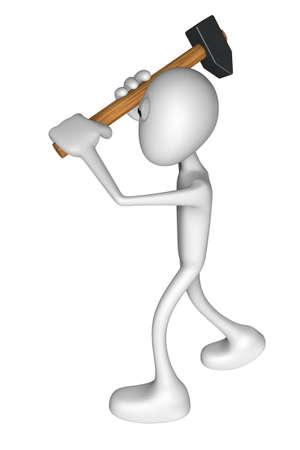white guy with big hammer - 3d illustration Stock Illustration - 13599973