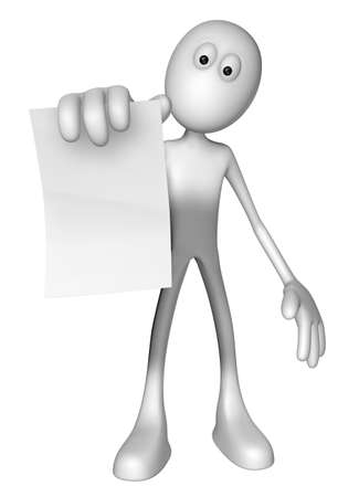 white guy is holding blank paper sheet - 3d illustration illustration