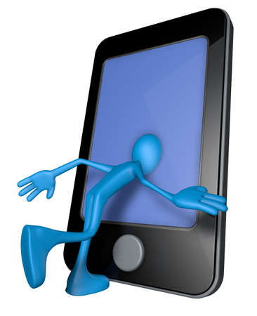 blue guy with head inside a smartphone - 3d illustration illustration