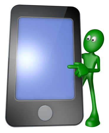 green guy behind smartphone - 3d illustration Stock Illustration - 13600018