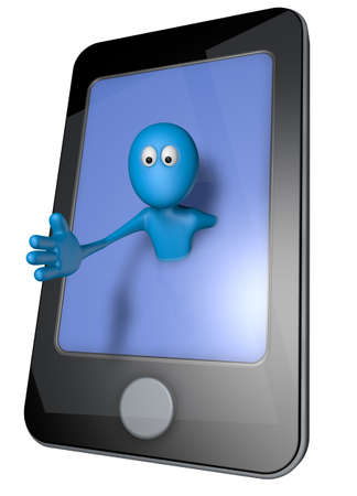 blue guy and smartphone - 3d illustration Stock Illustration - 13600017