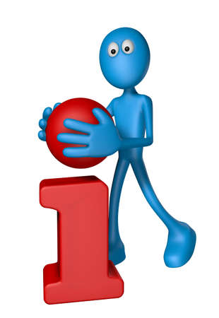 point i: blue guy with point of letter i in his hand - 3d illustration
