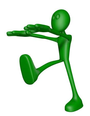 sleepwalking: green guy is sleepwalking - 3d illustration