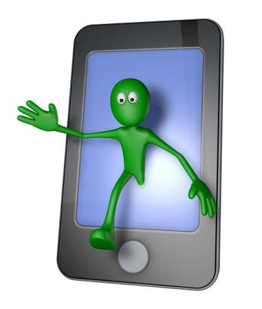 green guy and smartphone - 3d illustration illustration