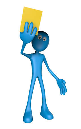 blue guy shows yellow card - 3d illustration Stock Illustration - 13700840