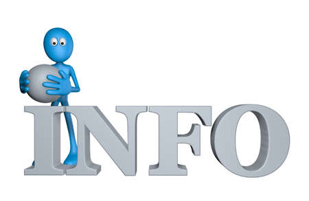 blue guy and the word info - 3d illustration illustration