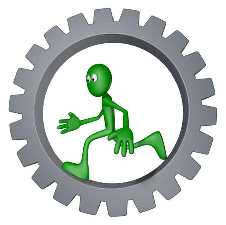 green guy is running inside gear wheel - 3d illustration