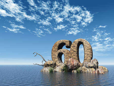 sixty: the number sixty - 60 -  at the ocean - 3d illustration