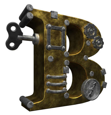 mechanical parts: steampunk letter b on white background - 3d illustration