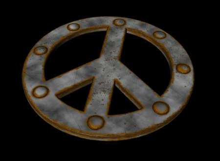 rusted riveted pacific symbol on black background - 3d illustration illustration