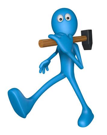 blue guy with big hammer - 3d illustration Stock Illustration - 13920893