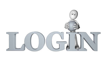 white guy and the word login - 3d illustration illustration