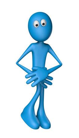 blue guy needs a toilet - 3d illustration Standard-Bild