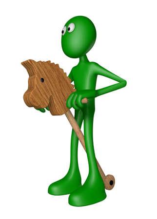 green guy rides on horse toy - 3d illustration Banco de Imagens