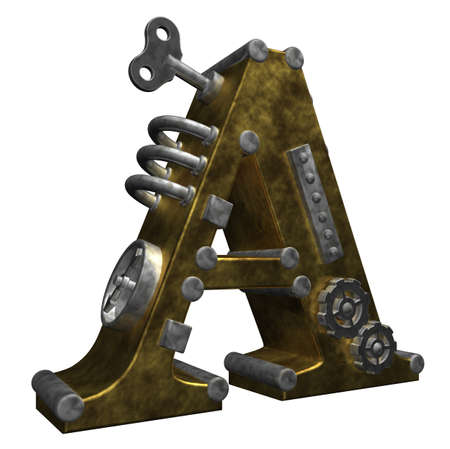 steampunk letter a on white background - 3d illustration