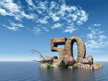 the number fifty - 50 -  at the ocean - 3d illustration illustration