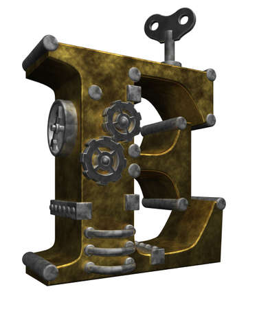 steampunk letter e on white background - 3d illustration illustration