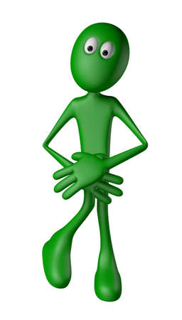green guy needs a toilet - 3d illustration Stock Illustration - 13992181