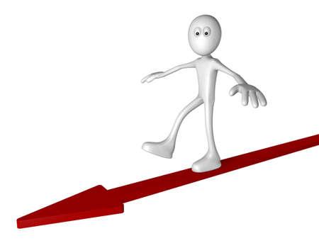 precipitate: white guy on arrow - 3d illustration