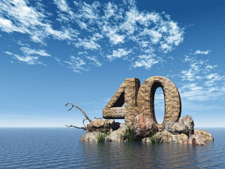 rocks water: the number forty - 40 -  at the ocean - 3d illustration