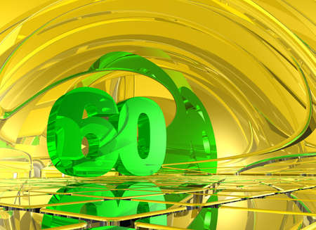 sixty: number sixty in abstract mirror space - 3d illustration Stock Photo